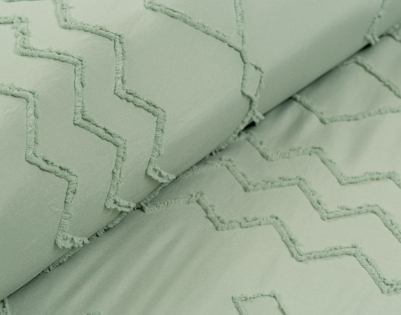 Recycled Polyester Clipped Jacquard Comforter Set - Kalista Jade**