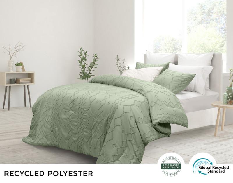 Kalista Jade comforter set, side view in a sweet jade green.