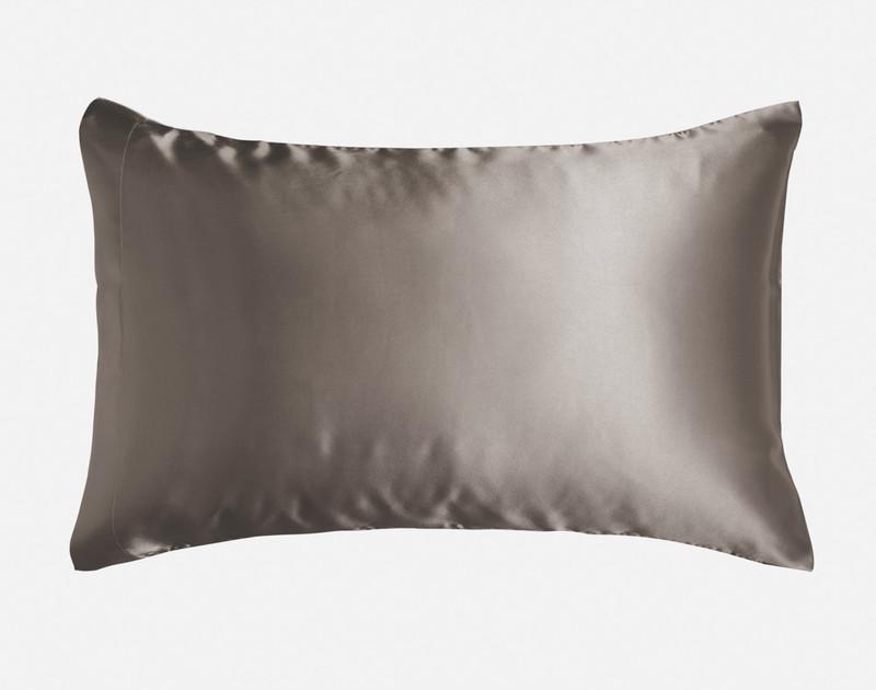 Ash Satin Pillowcase in Queen size over a pillow