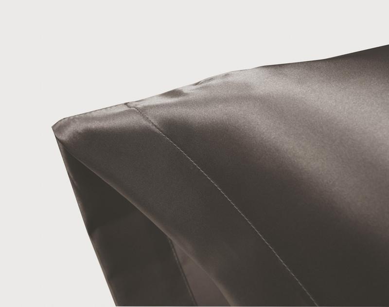 Corner of an Ash Satin Pillowcase showing envelope fold