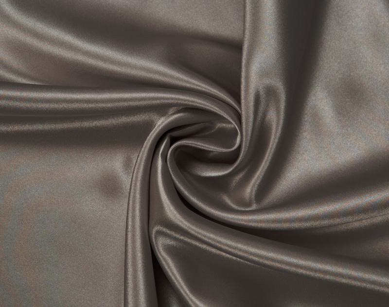 Close-up of Ash Satin Pillowcase with fabric curved