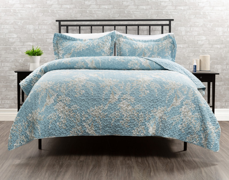 Armedia Duvet Cover in shades of blues and whites.