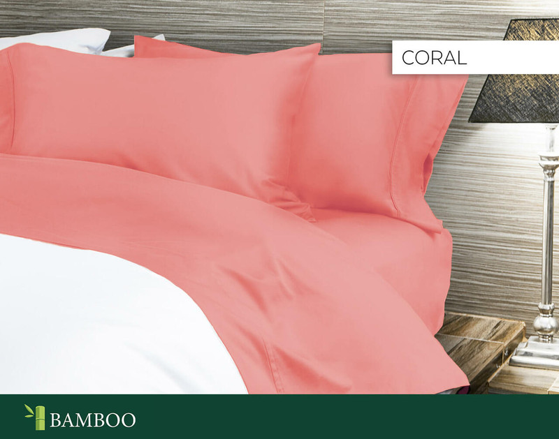 Bamboo Cotton Sheet Set in Coral, a bright pink with orange undertones