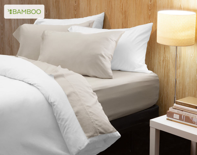 Bamboo Cotton Sheeting in Driftwood, a soft beige