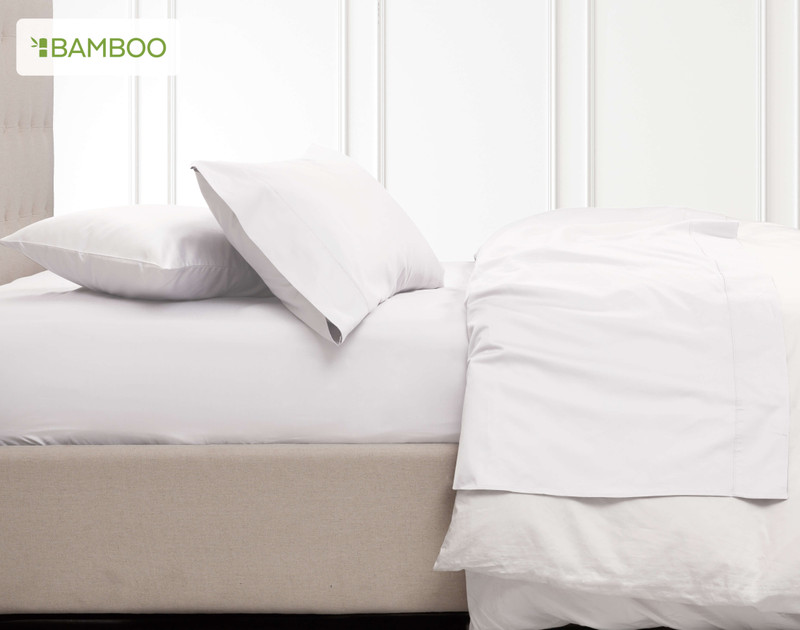 Bamboo Cotton Sheet set in White side veiw
