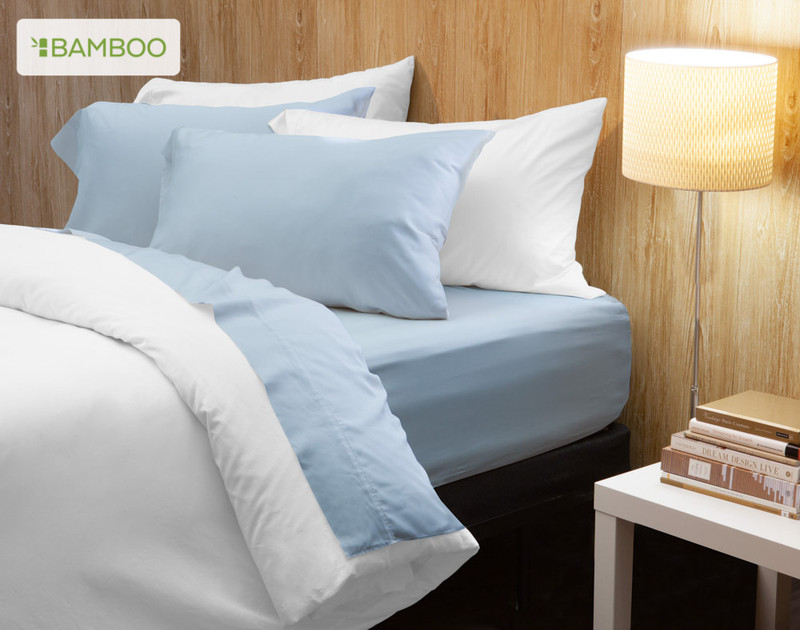 Bamboo Cotton Sheeting in Sky Blue