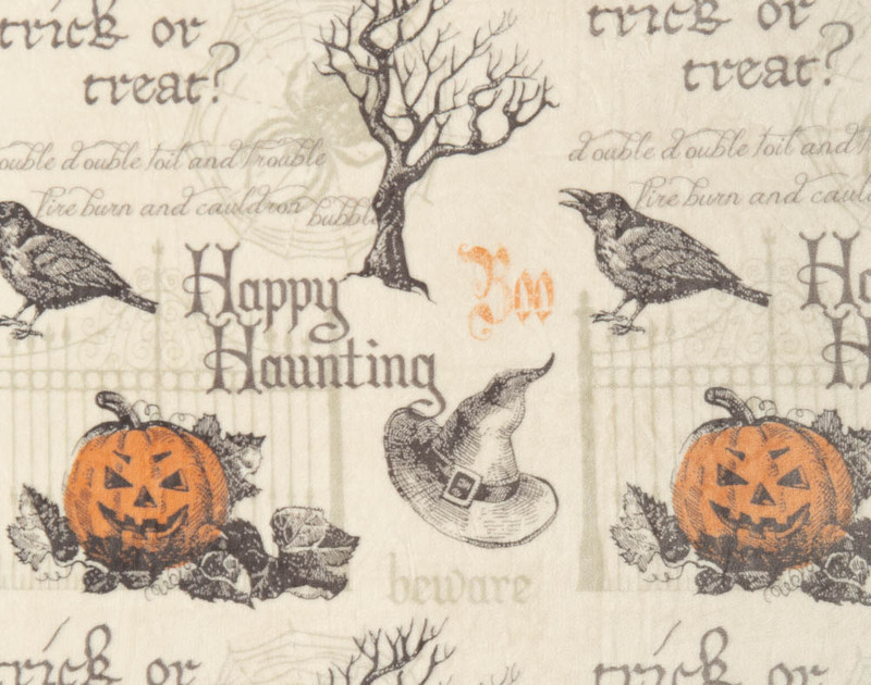 Close-up of Happy Haunting Fleece Throw's classic pattern.