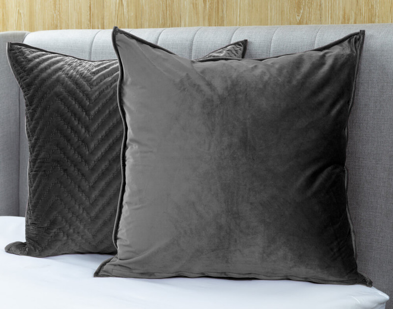Quilted Chevron Euro Sham - Charcoal