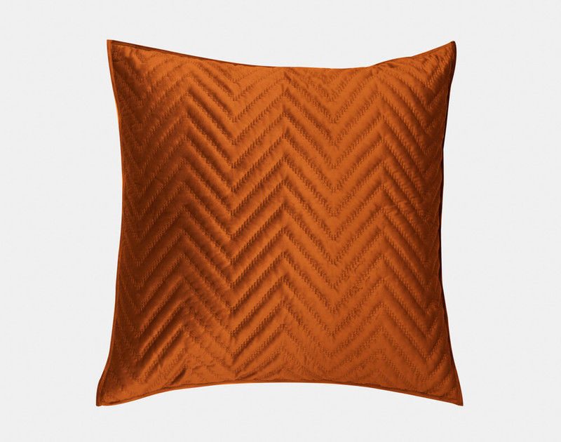 Front view of our Quilted Chevron Euro Sham in Copper.