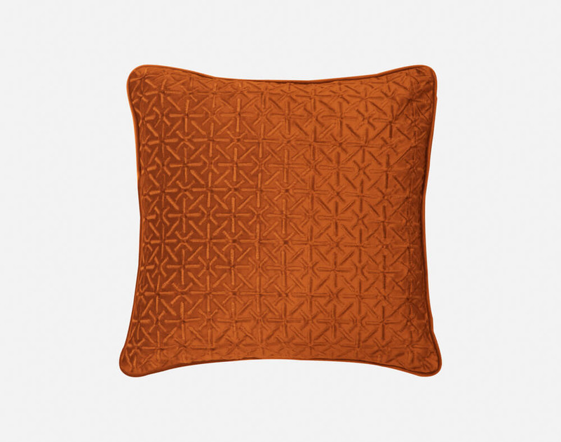 Front view of our Trellis Velvet Square Cushion Cover in Copper.