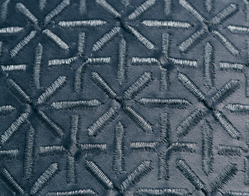 Close-up of the Trellis texture pattern on our Trellis Velvet Square Cushion Cover in Teal.