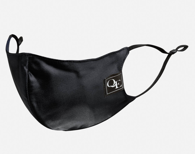 Angle view of Black Silk Face Mask.