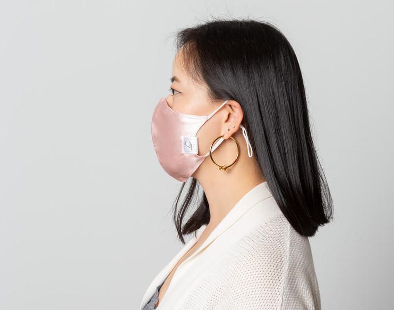 Blush Silk Face Mask, side view.