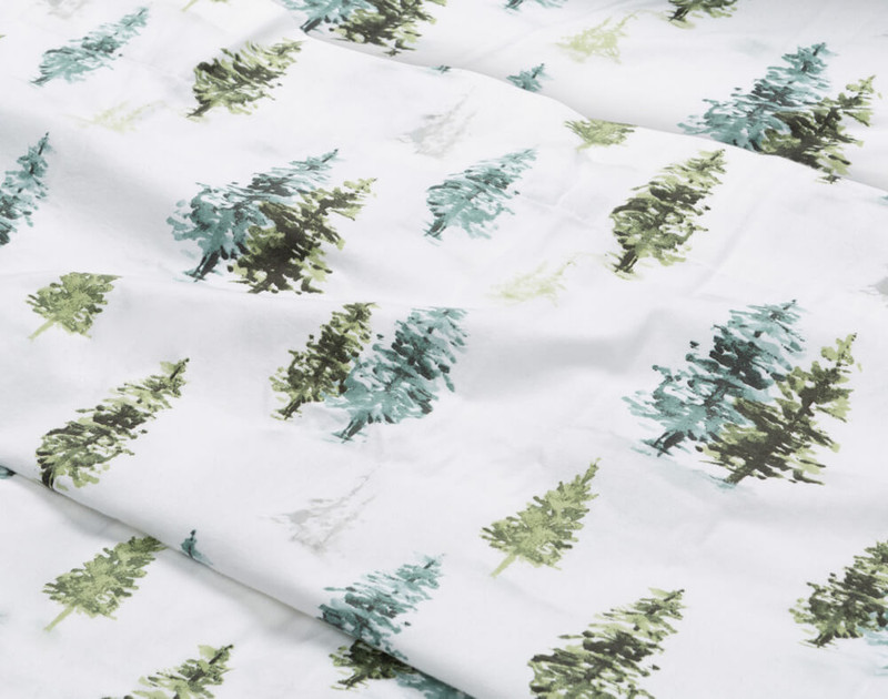 Close-up of our Flannel Cotton Sheet Set in Treeline to show texture.