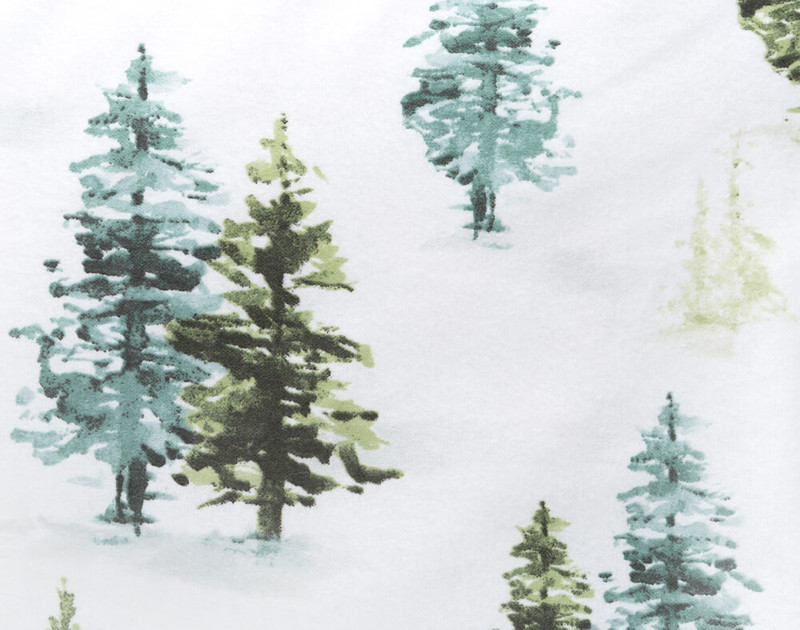 Close-up of the design on our Flannel Cotton Sheet Set in Treeline.
