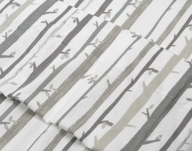 Close-up of our Flannel Cotton Sheet Set in Snowtrees to show texture.