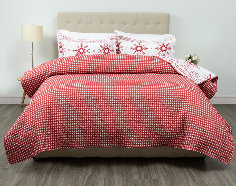 Reverse of the Yuletidings Coverlet Set features a bold red and white Gingham Plaid design.