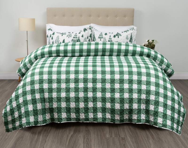 Reverse of the Treetops Coverlet Set features a bold green and white Buffalo check plaid.