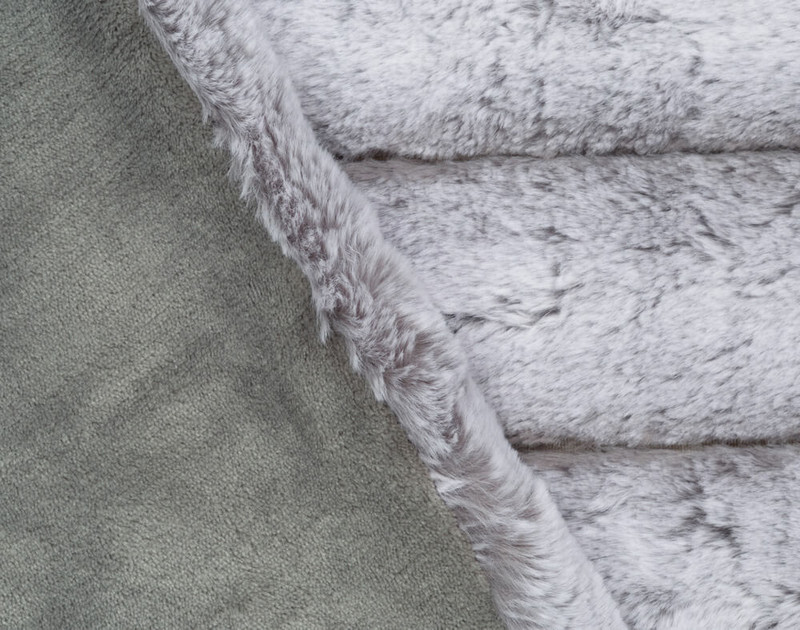 Close-up of Tip-Dyed Faux Fur Throw in Silver to show solid reverse texture.