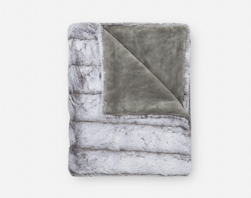Tip-Dyed Faux Fur Throw in Silver folded into a small square.
