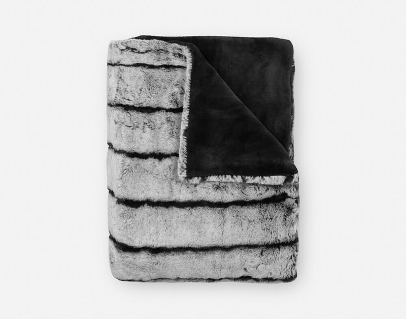 Tip-Dyed Faux Fur Throw in Black folded into a small square.