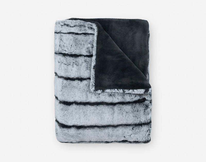 Tip-Dyed Faux Fur Throw in Sea Storm folded into a small square.