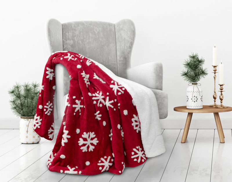 Our Red Holiday Sherpa Throw in Sugar Snow, with stylish minimalist snowflakes.