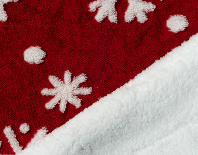 Close-up of front and fluffy sherpa reverse of Holiday Sherpa Throw in Sugar Snow.