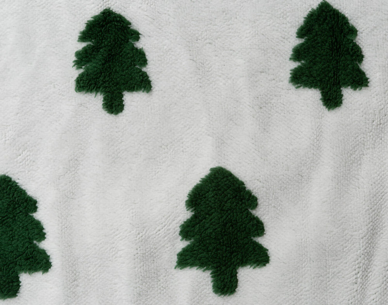 Close-up of white patterned front of Holiday Sherpa Throw in Tree Time.