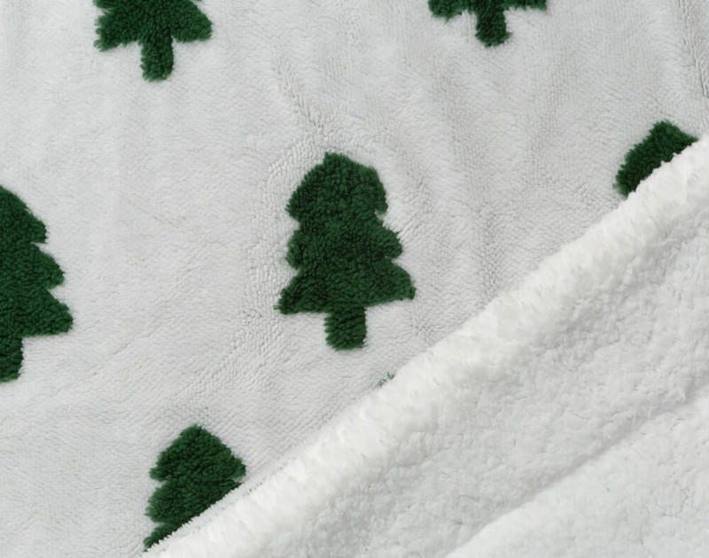 Close-up of front and fluffy sherpa reverse of Holiday Sherpa Throw in Tree Time.