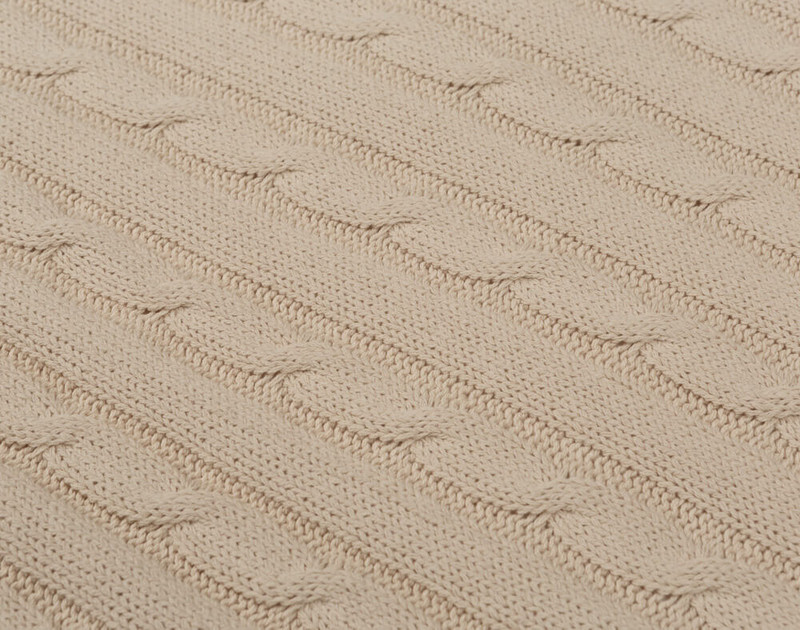 Close-up of rib knit texture on Cable Rib Knit Beige Throw in Natural.