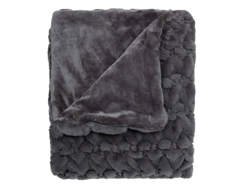 Our Carved Faux Fur Throw in Graphite Grey folded into a tidy square.