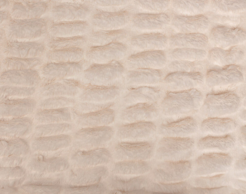 Close-up of the textured pattern on our Rabbit Carved Faux Fur Throw in Blush Pink.