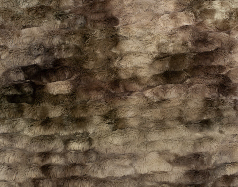 Close-up of the textured pattern on our Rabbit Carved Faux Fur Throw in Mink.