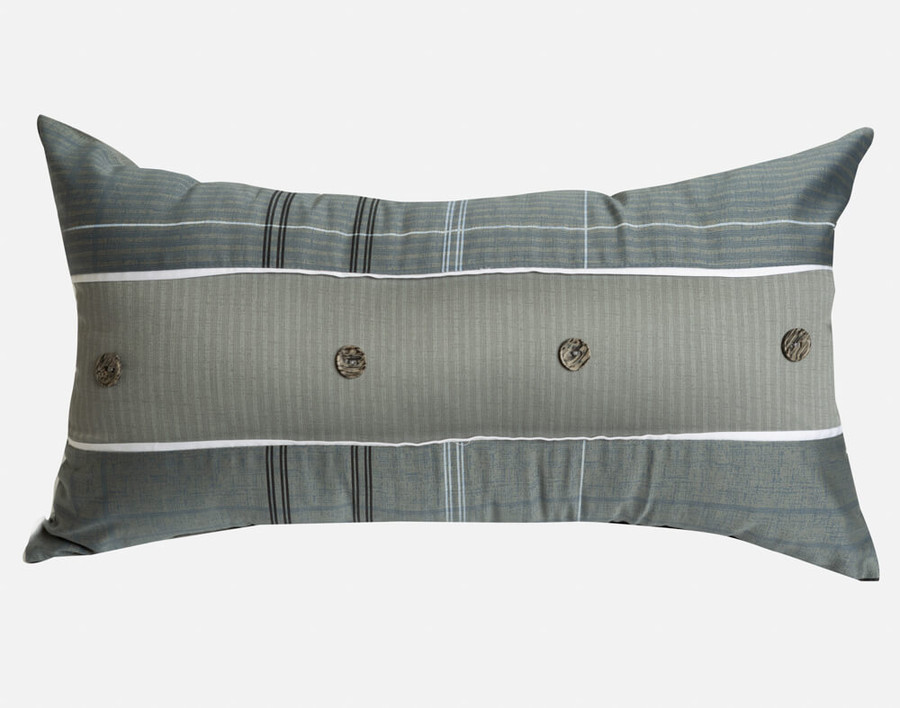 Renzo Boudoir Cushion Cover features a horizontal grey stripe with button accents, on a bed of blue grey pinstripe plaid.