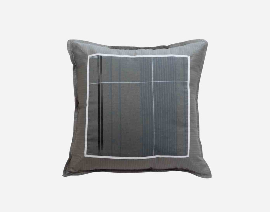 Renzo Square Cushion Cover features blue and white pinstripes on a dark grey background.