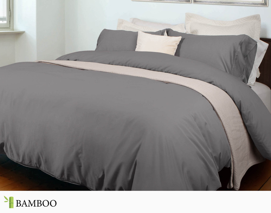 Bamboo Cotton Duvet Cover in Slate, a warm grey