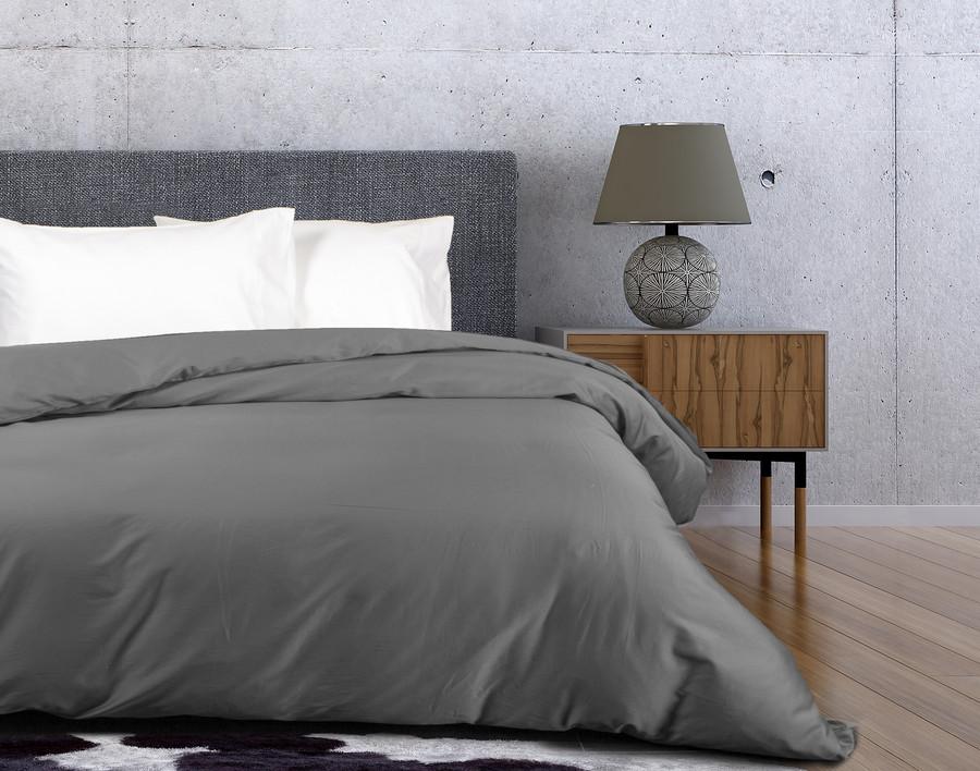 500TC Cotton Sateen Duvet Cover - Stone Grey