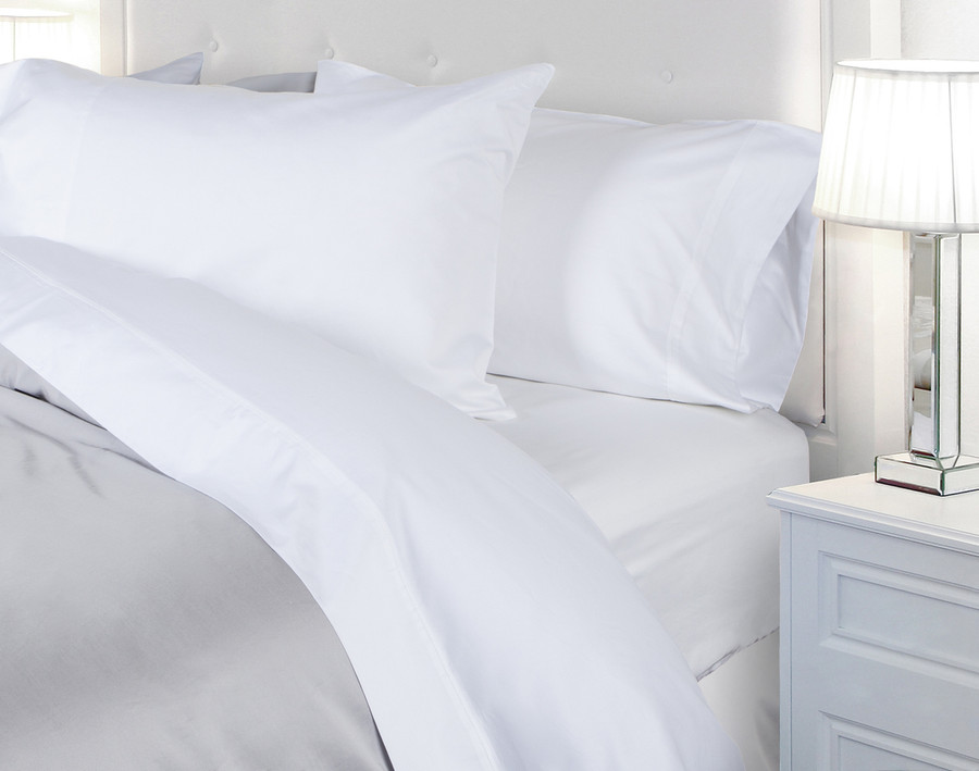 620TC Cotton Sateen Sheet Set in White (Extended Sizes Available)