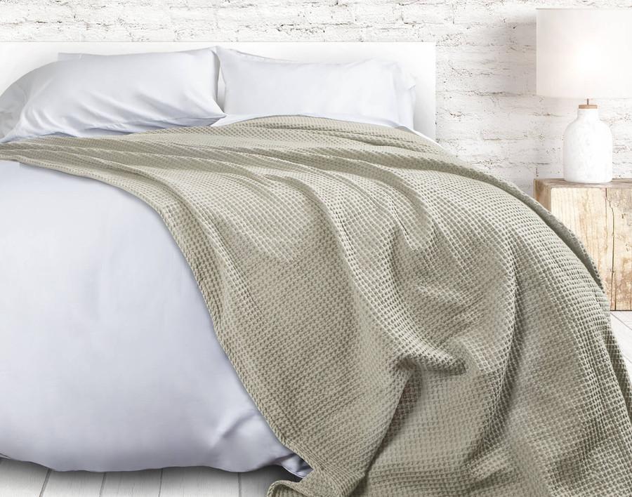 Cotton Waffle Blanket - Oatmeal