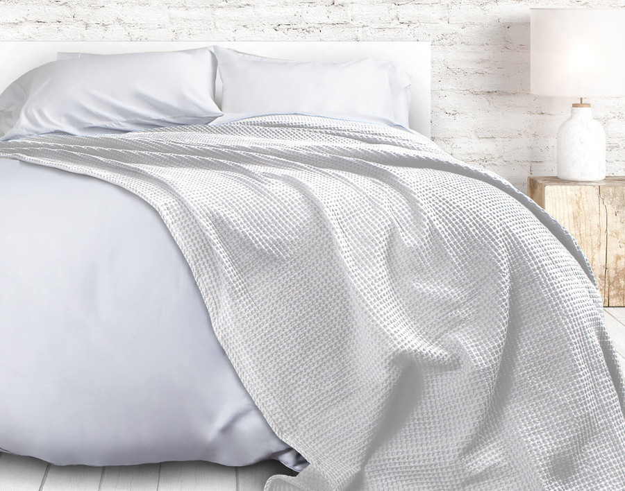 Cotton Waffle Blanket in White