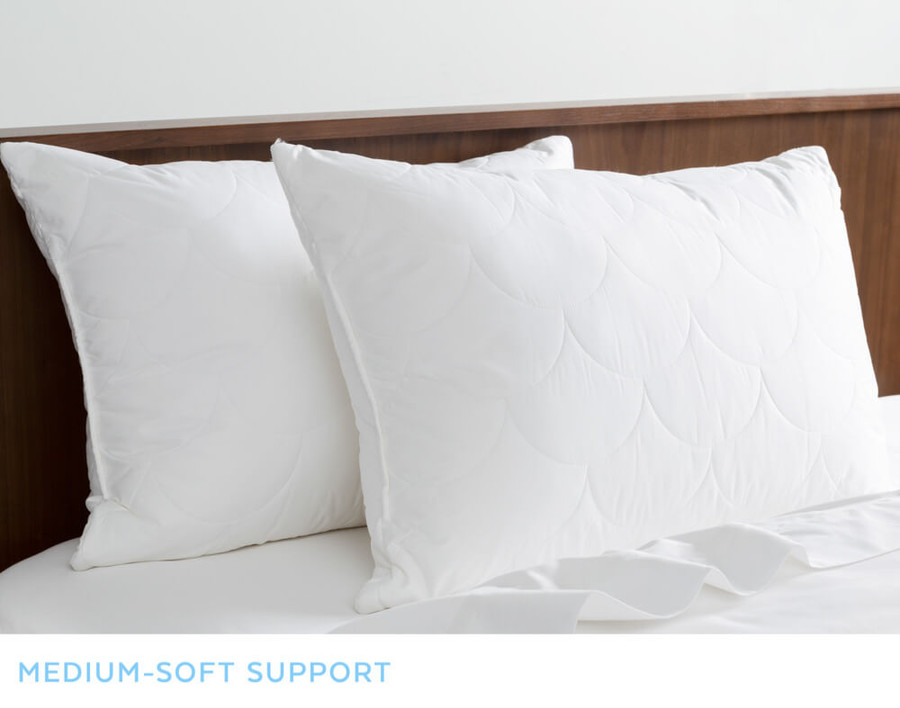 SilkSurround Pillows with Microgel Core on bed.