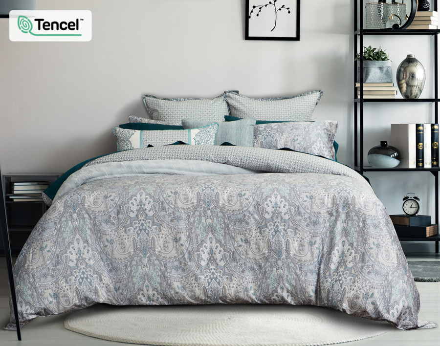 Danube Bedding Collection in grey bedroom