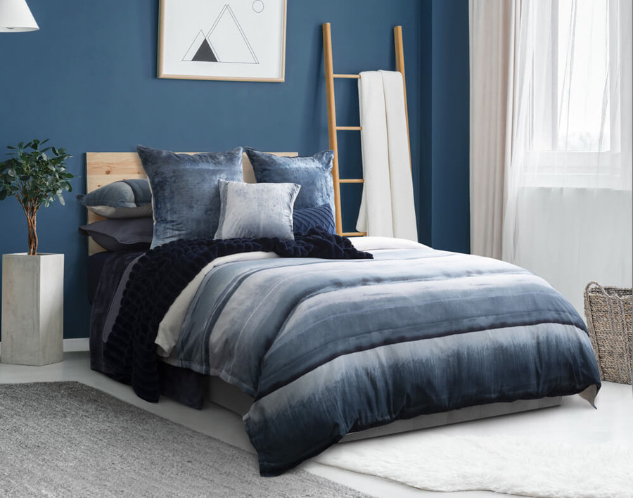 Ultramarine Bedding Collection in blue bedroom