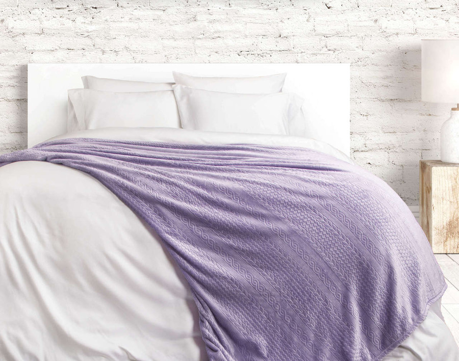 Cable Knit Blanket - Lilac