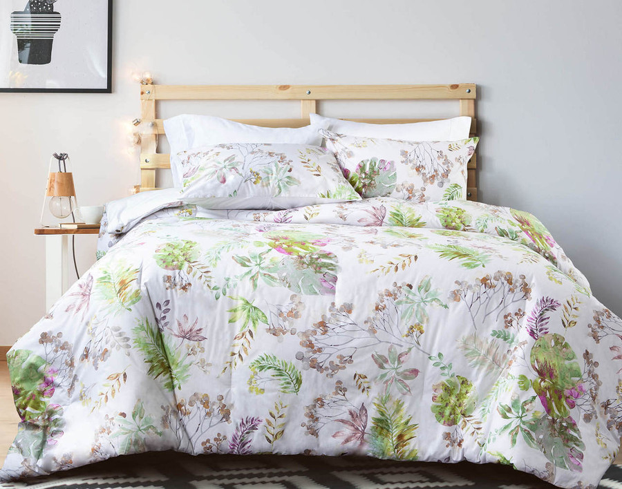 A subtle, sophisticated update for any bedroom with the Lallia Cotton Comforter Set, featuring lime green and bold pink florals.
