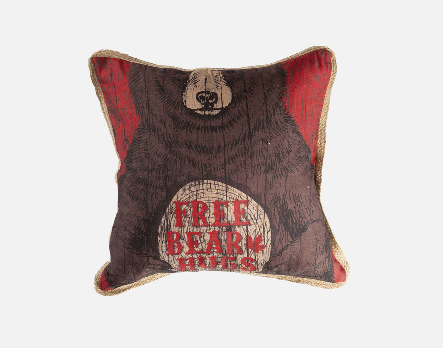 Bear Hug - Linen Look Square Cushion Cover