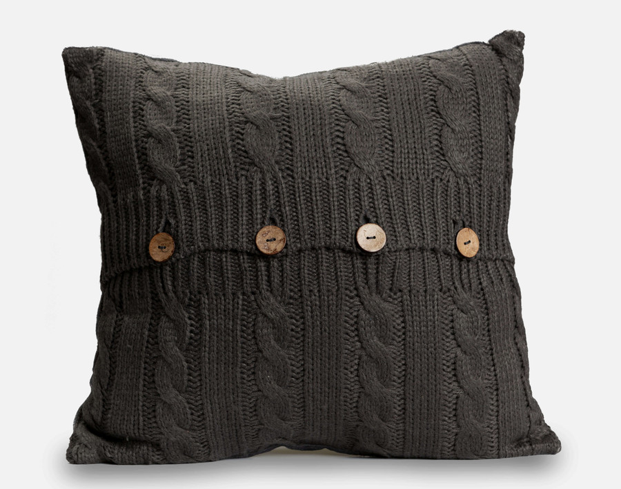 Cable Knit Square Cushion Cover - Charcoal