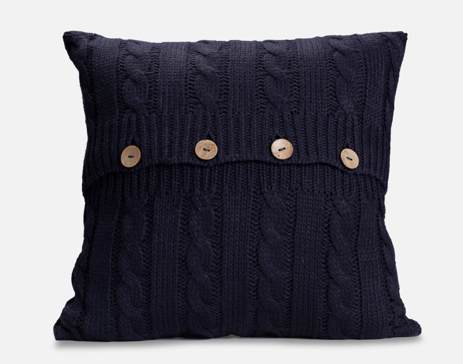 Cable Knit Square Cushion Cover - Ink