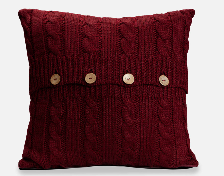 Cable Knit Square Cushion Cover - Pomegranate